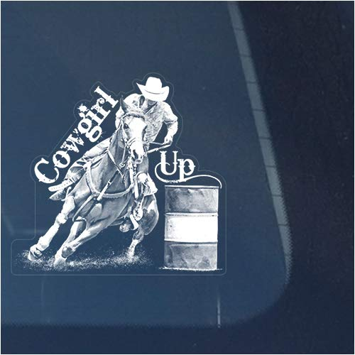 (Cowgirl Up Barrel Racing Racer Clear Vinyl Decal Sticker for Window, Horse Sign Art Print Design)