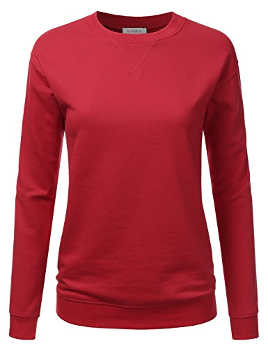 Doublju Crewneck Loose Fit Raglan Sleeve Fleece Pullover Sweatshirt For Women Ruby Large (Fleece Raglan Sweatshirt)