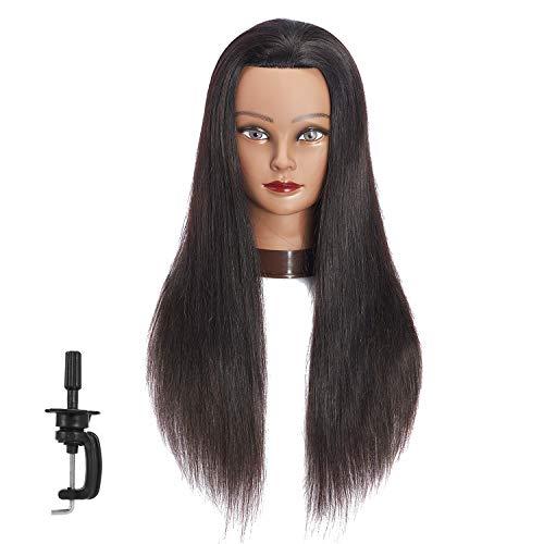 "24""-26"" 100% Human hair Mannequin head Training Head Cosmetology Manikin Head Doll Head with free Clamp (Black A)"