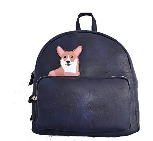 Backpack Corgi Women Purse PU Vegan Ladies Rucksack Zipper Shoulder Bag (Dark Blue)