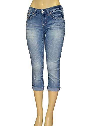 Alfa Global Women's Stretch Denim 5 Pocket Capri Pants (12, Blue5728C) (Denim Capri Pocket)
