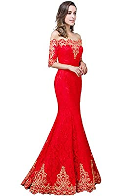 Babyonline Off Shoulder Half Sleeve Mermaid Floral Lace evening Prom Dress.