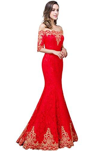 Babyonlinedress Mermaid Saclloped Neck Red Lace Maxi Bridesmaid Dress,Size 6