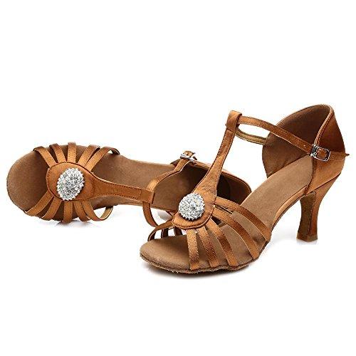 Con Correa T Zapatos Mujer Hipposeus Marrón En Latín Esq226 Satén modelo Salón De 7cm Baile a0xTqFw