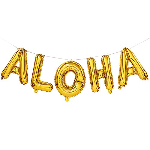16 Inches Gold Aloha Balloons Banners Decoration,Gold Letters Balloons for Hawaii Tropical Graduation Bachelorette Anniversary Celebration Party Decorations