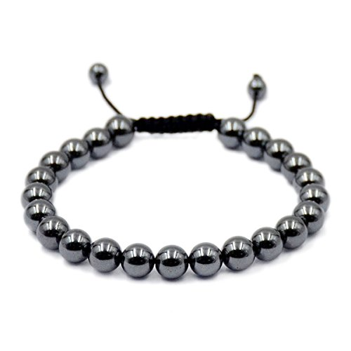 AD Beads Natural 8mm Gemstone Bracelets Healing Power Crystal Macrame Adjustable 7-9 Inch ()