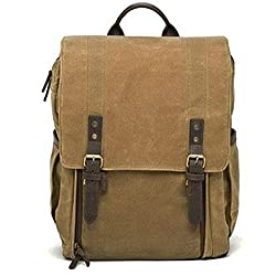 Ona Camps Bay Camera & Laptop Backpack, Handcrafted With Waxed Canves & Leather - Field Tan, For Up To 17 Inch Laptops