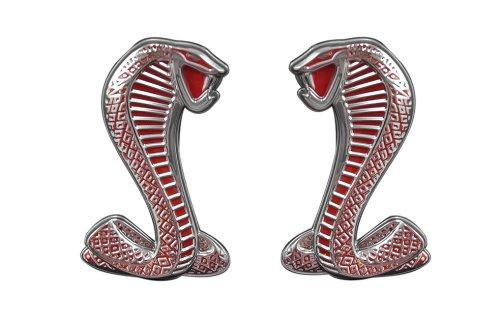 Red & Chrome Ford Mustang Cobra Fender Emblems - Left / Right (Cobra Fender Emblems)