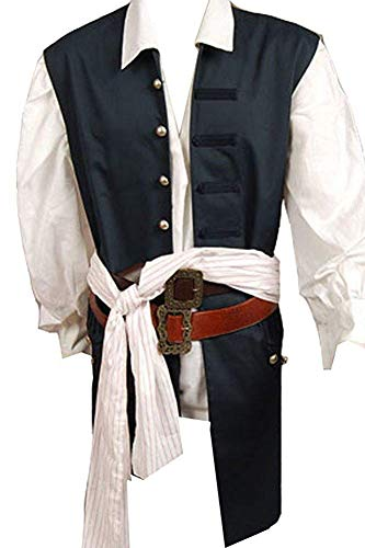 Cosplaysky Halloween Pirate Costume Pirates The Caribbean Jack Sparrow Vest XX-Large (Only -