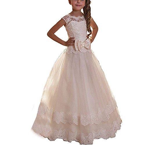 ABaowedding Ball Gown Lace up Flower First Communion Girl Dresses (US 12, Ivory 1)