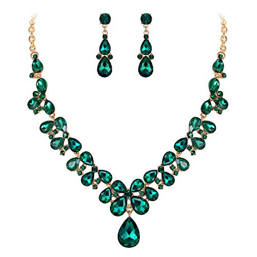BriLove Wedding Bridal Necklace Earrings Jewelry Set for Women Crystal Teardrop Cluster Statement Necklace Dangle Earrings Jewelry Set Light Green Gold-Toned