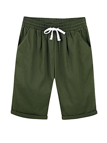 Pleated Bermuda Shorts (Gooket Women's Casual Elastic Waist Knee Length Curling Bermuda Shorts With Drawstring Army Green - XL)