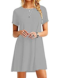 Women Loose Short Sleeve Casual Dress A Line Swing Simple Multicolor Mini Dress