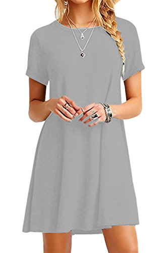 (YMING Women's Casual Loose Dress Solid Color Mini Dress Plus Size Shirt Dress Light Grey M)
