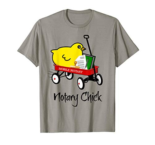 Mobile Notary Chick Riding in Red Wagon with Contract Seal Notarial Journal T-Shirt
