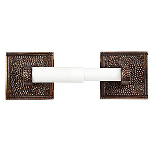 (The Copper Factory CF136AN Solid Copper Toilet Tissue Holder with a Square Backplates, Antique Copper)
