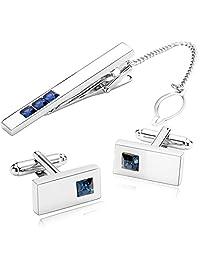 Gnzoe Men Stainless Steel Crystal Blue Crystal Men's Tie Clip and Cufflink Set