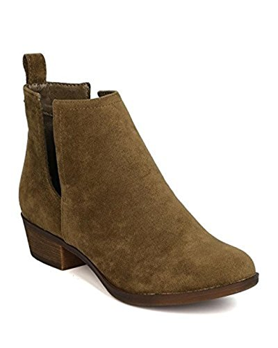 Breckelle's Breckelles GK79 Women Faux Suede Cut Out Riding Bootie - Olive