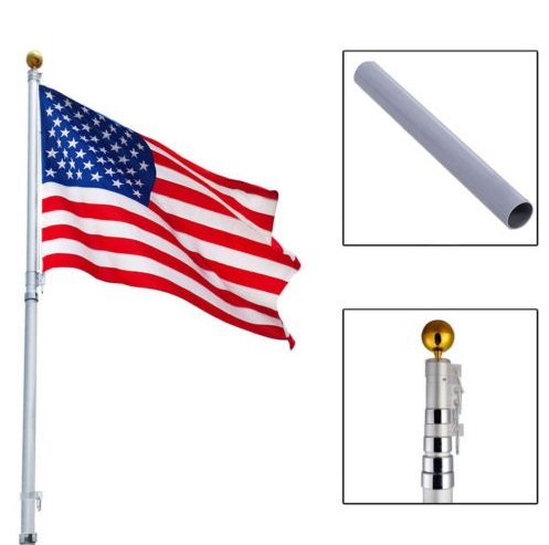 NEW 20Ft Aluminum Telescoping Flagpole Kit Outdoor Gold Ball + 1 US America Flag New