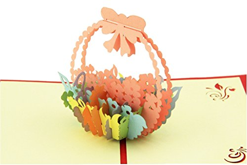 IShareCards Handmade 3D Pop Up Thank You Cards With Envelopes Greeting Cards Flower (Little Flower Basket)