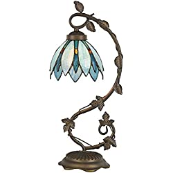 "Cloud Mountain Tiffany Style Arched Table Lamp Light Blue Floral Leaf Lotus Shape Stained Glass Desk Lamp Home Decor Lighting with 7"" Lampshade"