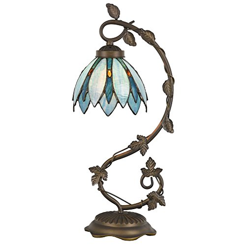 Cloud Mountain Tiffany Style Arched Table Lamp Blue Floral Leaf Lotus Shape Stained Glass Desk Lamp Home Decor Lighting with 7