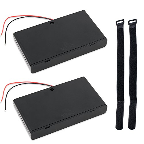 abcGoodefg 2 x 8 Solts 1.5V AA Battery Holder Case Plastic Battery Storage Box with ON/OFF Switch (2 Pcs 8 Solts)