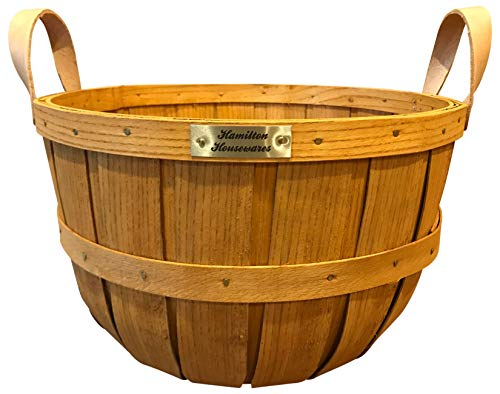 Hamilton Housewares Wooden Half Bushel Basket for Gardening - Sturdy Hardwood Construction with Leather Handles - 100 Percent Made in USA