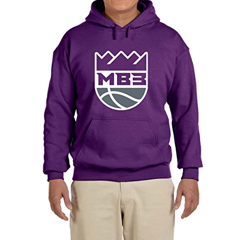 Peg Leg Fox (Peg Leg Shirts Purple Sacramento Bagley III Logo Hooded Sweatshirt Adult Large)