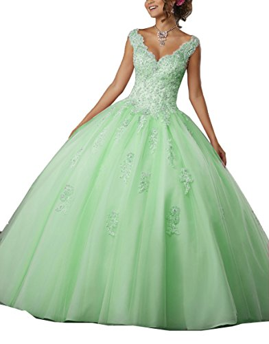 YinWen Women's Princess Ball Gown Girl's Prom Gown V-Neck Sweet 16 Lace Beading Floor Length Quinceanera Dress Mint ()