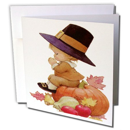 3dRose Vintage Pilgrim Boy on Pumpkin - Greeting Cards, 6 x 6 inches, set of 12 (gc_36427_2)