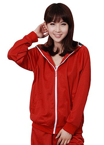 E-Mell Unisex Cosplay Miku Gumi Luka Rin Eye Pattern Zippered Hoodie,M(Bust 41.7in/106cm),Red ()