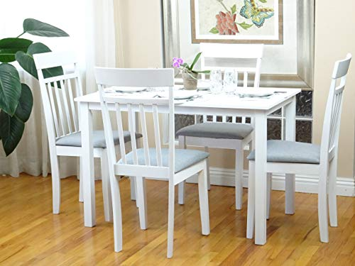 - Rattan Wicker Furniture 5 Pc Dining Kitchen Set of Table and 4 Side Warm Chairs Classic Style Solid Wood in White Finish