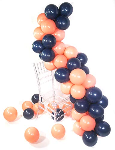 PartyWoo Party Balloons, 80 pcs 12 Inch Navy Blue Balloons Coral Balloons Peach Balloons Blush Balloons, Navy Party Decorations, Coral Birthday Decorations, Peach Wedding Decorations, Blush -