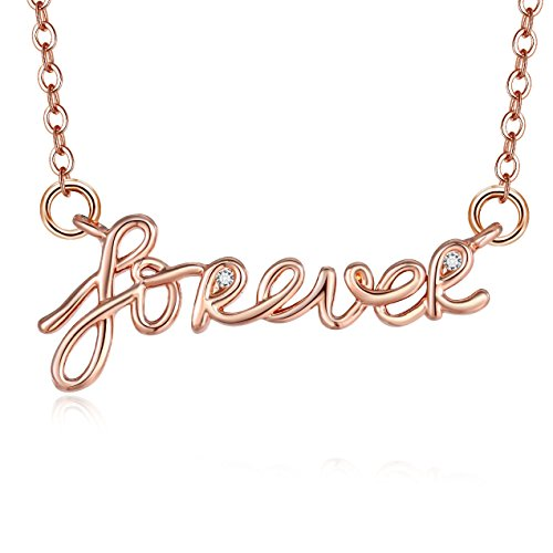 Modern Everyday Necklace - Blinkingstare Rose Gold Forever Pendant Necklace - Round Cubic Zirconia Choker Simple Necklace for Women