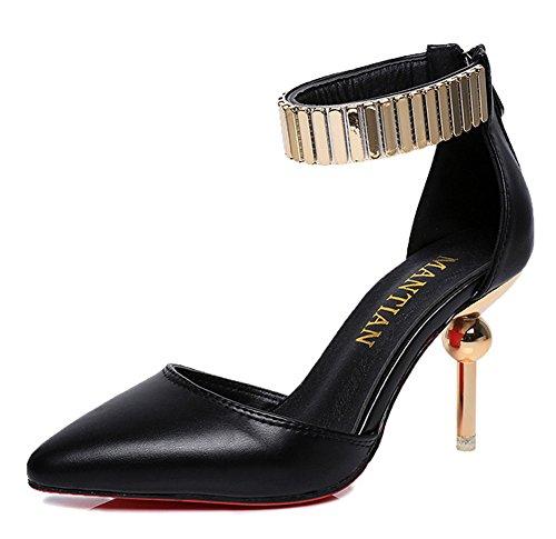 Minetom Zapatos De Tacón Alto Con Punta Cerrada PU De Cuero Elegante Fiesta Boda Plataforma Shoes Charol Zapatos Stiletto Negro
