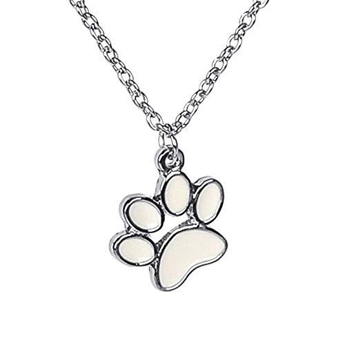 (NC108 Cute Little White Dog Paw Charm Pendant Necklace )