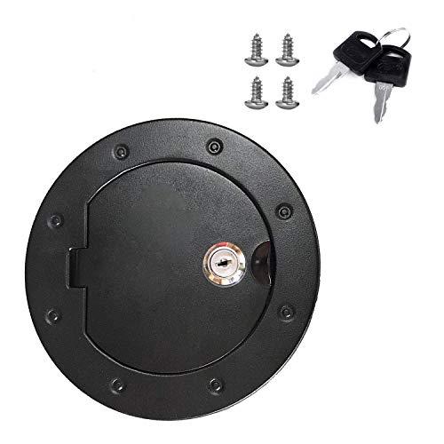 uminium Gas Tank Cap Fuel Filler Door Cover with lock For 2007-2017 Wrangler JK ()