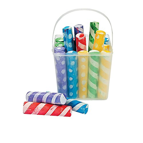 Bargain World Stripe And Polka Dot Sidewalk Chalk (With Sticky Notes) -