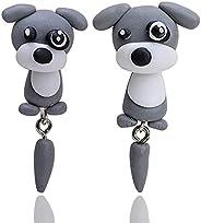 Cute Animal bite Earring, 3D Clay Earrings-Fashion Simple Handmade Polymer Animal Stud Earrings-3D Kawaii Anim