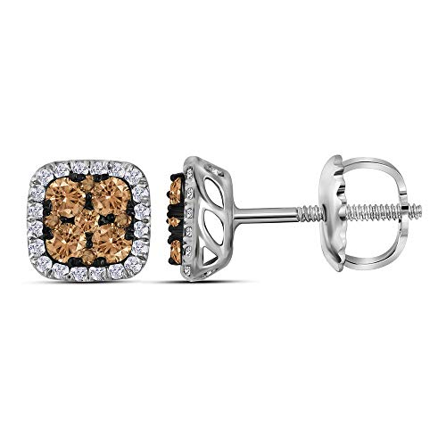 Jewel Tie Solid 14k White Gold Round Chocolate Brown Diamond Square Cluster Earrings (1/2 Cttw.)