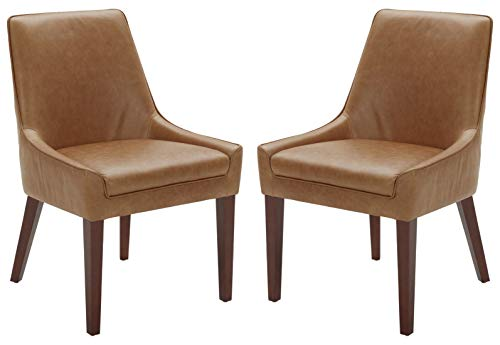 """Amazon Brand – Rivet Contemporary Welt-Trimmed Dining Chair, 35""""H, Cognac, Set of 2 - The understated welt trim provides a decorative element to this simple but chic dining chair. The cognac-colored leather upholstery will blend with any color scheme and is durable and low maintenance. A solid wood frame and legs support this comfortable, low-armed seat. 23""""W x 25""""D x 35""""H; seat height: 20""""H; seat depth: 17""""D; seat back height: 15""""H Set of 2 - kitchen-dining-room-furniture, kitchen-dining-room, kitchen-dining-room-chairs - 41ZGSp4dWrL -"""