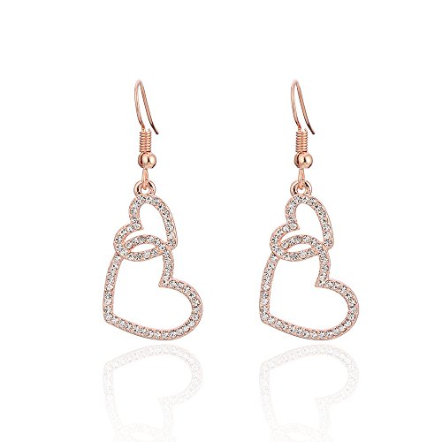 - Dangle Earring for Women,Heart Drop Earring Girls Vintage Earring Gold or Silver Earring with Crystal (Rose Gold Linked Heart)