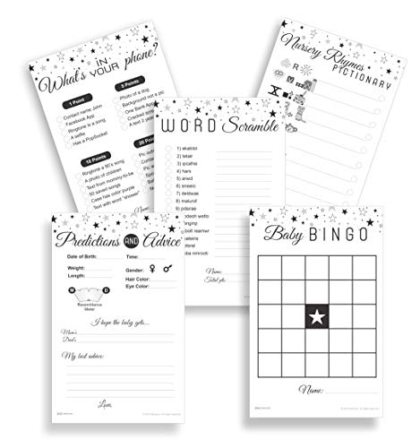 Baby Shower Games- Set of 5 Games (50 Sheets each) with FREE Party planning guide | Baby Bingo, Predictions & Advice, Word Scramble, Pictionary and What