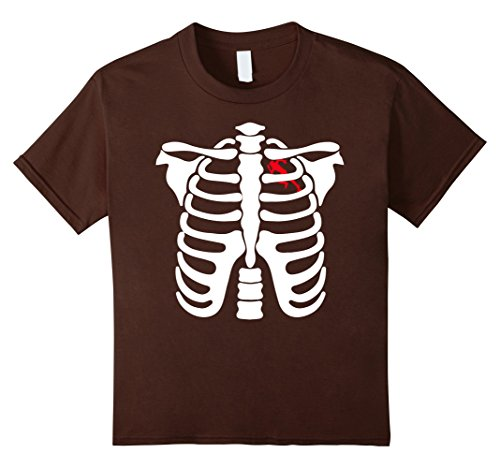 T Rex Costume Workout (Kids running In Heart Skeletons Halloween Funny Shirt 4 Brown)