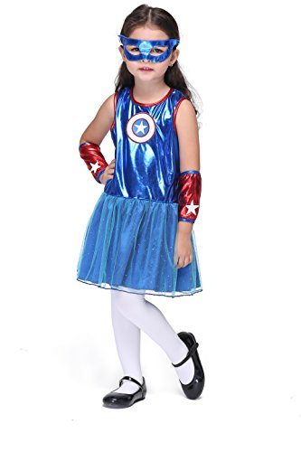 Vivihoo EK112 Halloween Party Costume Captain America Cosplay Sleeveless Dress For Little Girl (XL) - Good Movie Couple Costume Ideas