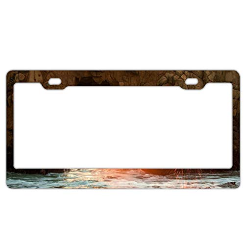 Arch Plaque Frame - EXMENI Earth Arch Sunbeam Coastline Rock Car Vehicle License Plate Metal Tin Sign Plaque