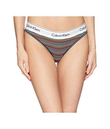 Calvin Klein Underwear Women's Modern Cotton Bikini Prism Stripe Print Black X-Small