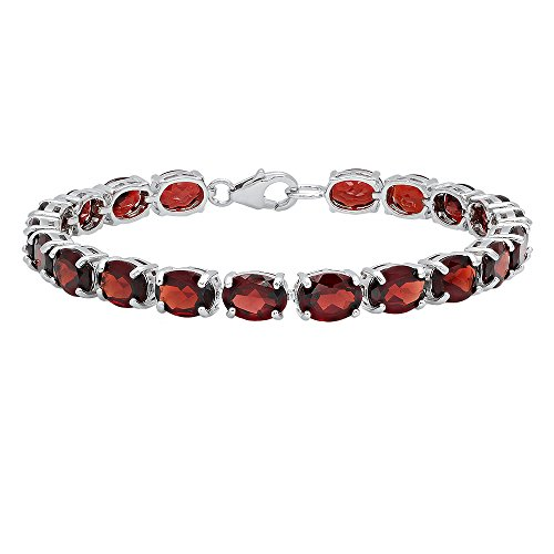 Sterling Silver 6X8 MM Each Oval Garnet Ladies Tennis Bracelet by DazzlingRock Collection