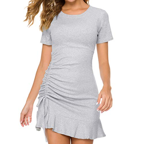 Women's Sexy Bodycon Dress Round Neck Drawstring Solid Ruffled Slim Slimming Dress Gray (Fringed Drawstring)